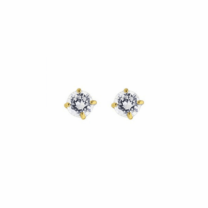 14K Yellow Gold Shiny 3.0mm Round Faceted White CZ Stud Earring