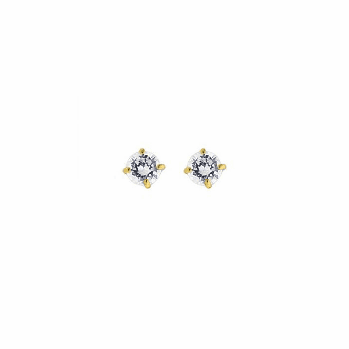 14K Yellow Gold Shiny 4.0mm Round Faceted White CZ Stud Earring