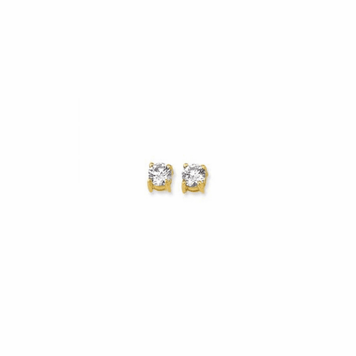 14K Yellow Gold Shiny 5.0mm Round Faceted White CZ Stud Earring