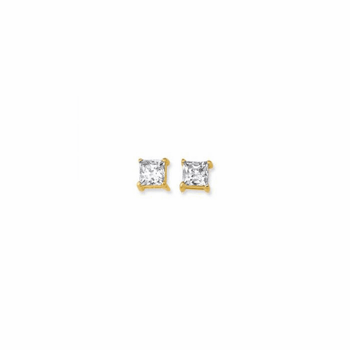 14K Yellow Gold Shiny 5.0mm Square Faceted White CZ Stud Earring