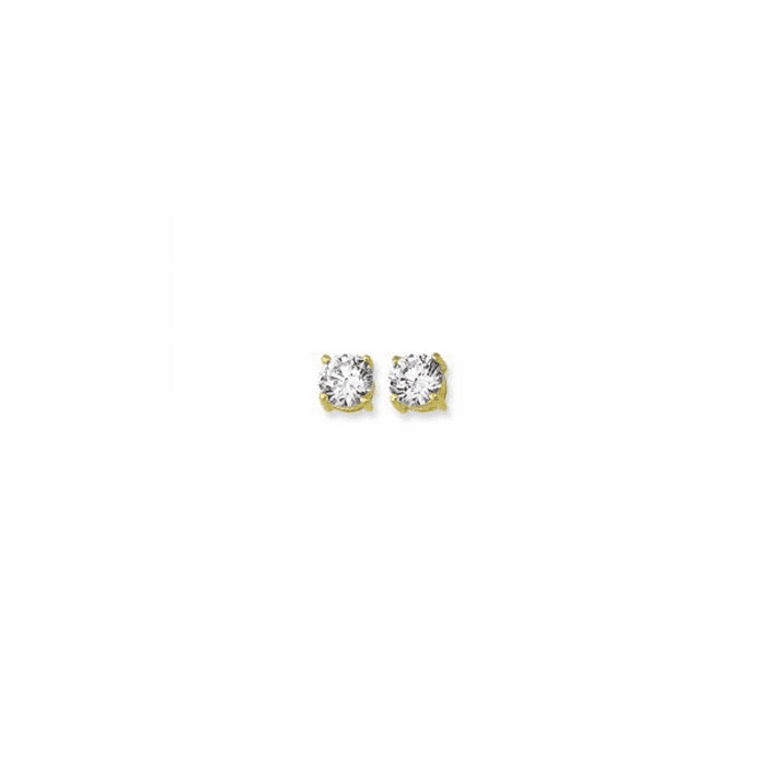 14K Yellow Gold Shiny 6.0mm Round Faceted White CZ Stud Earring