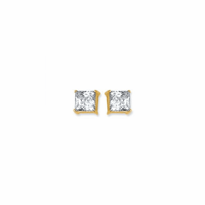 14K Yellow Gold Shiny 6.0mm Square Faceted White CZ Stud Earring