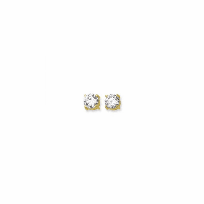 14K Yellow Gold Shiny 8.0mm Round Faceted White CZ Stud Earring