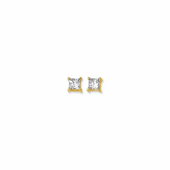 14K Yellow Gold Shiny 8.0mm Square Faceted White CZ Stud Earring-CZ108