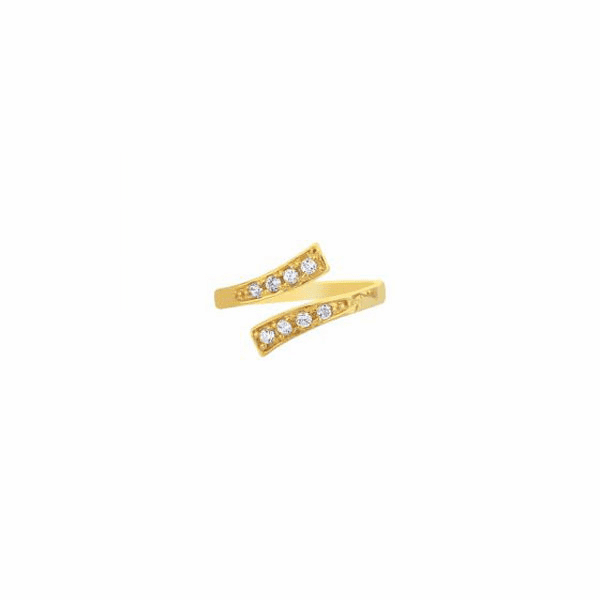 14K Yellow Gold Shiny Bypass Type Toe Ring with White Cubic Zirconia