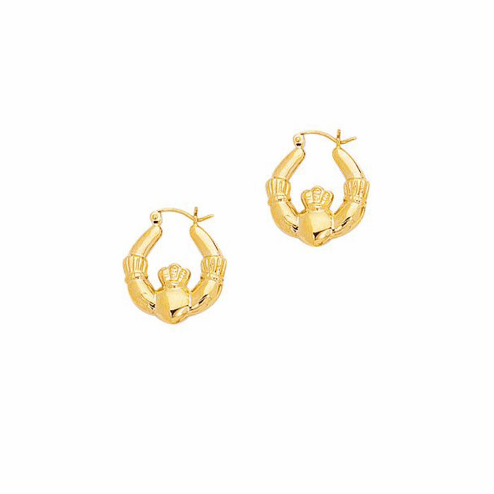 14K Yellow Gold Shiny Claddagh Symbolic Hoop Earring with Hinged Clasp