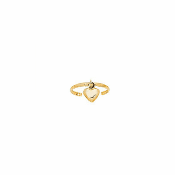 14K Yellow Gold Shiny Cuff Type Fancy Toe Ring with Small Puff Heart