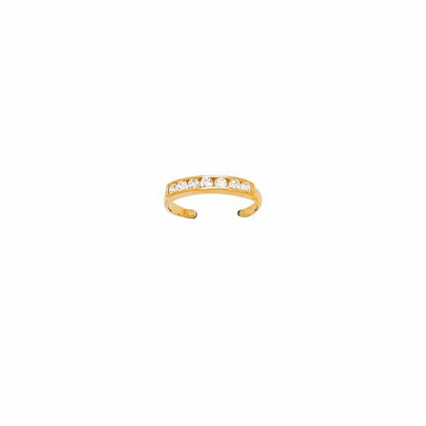 14K Yellow Gold Shiny Cuff Type Fancy Toe Ring with White CZ