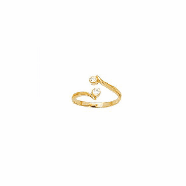 14K Yellow Gold Shiny Cuff Type Toe Ring/2 Small Heart with White CZ