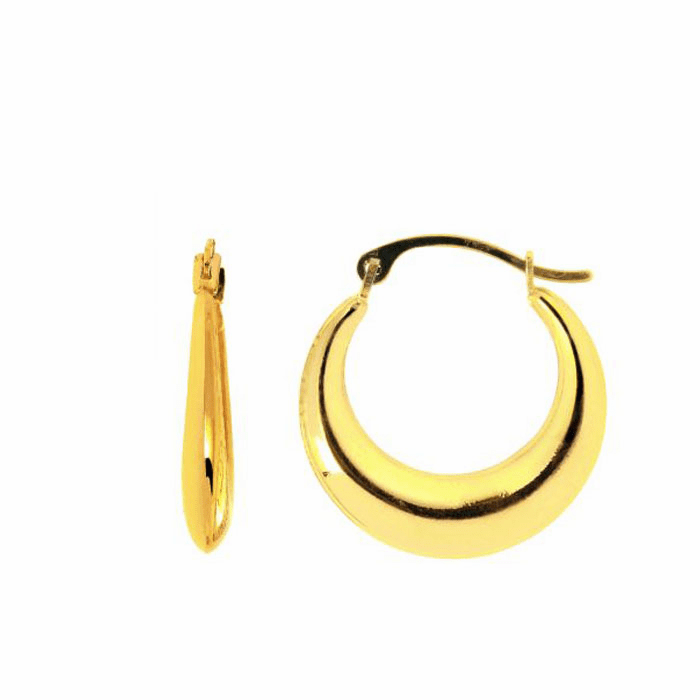 14K Yellow Gold Shiny Graduated Hoop Earring with Hinged Clasp