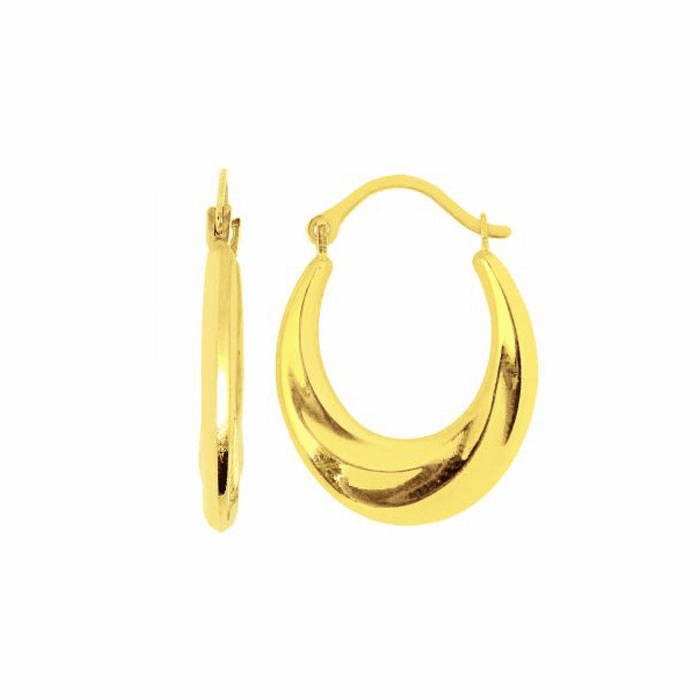 14K Yellow Gold Shiny Graduated Oval Hoop Earring with Hinged Clasp