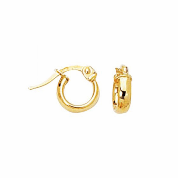 14K Yellow Gold Shiny Hoop Earring with Hinged Clasp