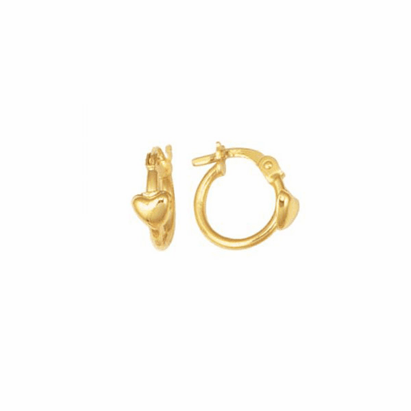 14K Yellow Gold Shiny Hoop Earring with Small Heart with Hinged Clasp