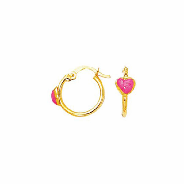 14K Yellow Gold Shiny Hoop Earring with Small Red Heart