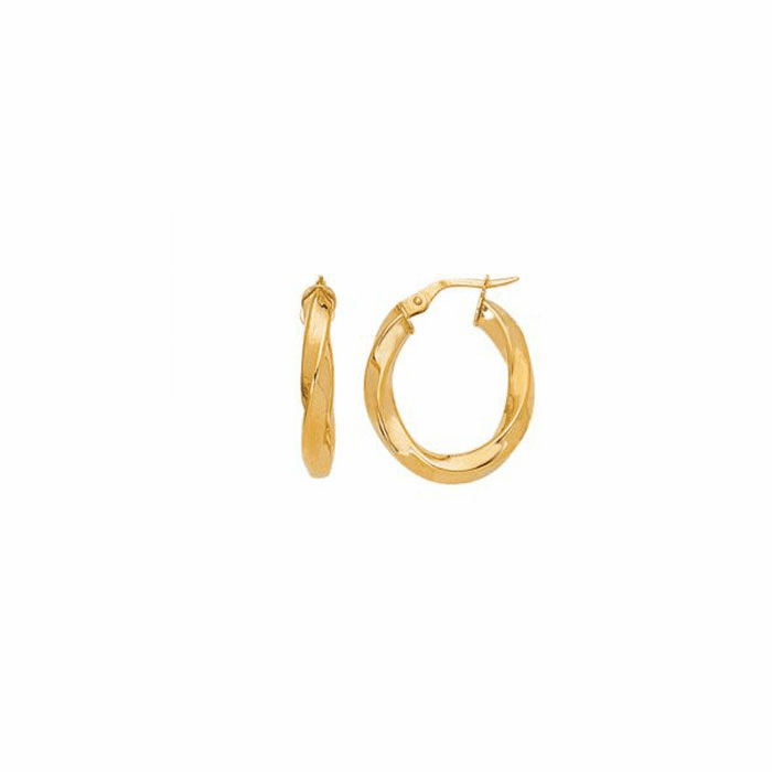 14K Yellow Gold Shiny Italian Twists Hoop Earring with Hinged Clasp
