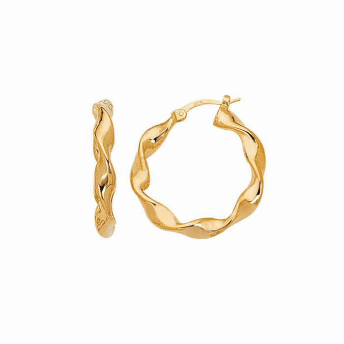 14K Yellow Gold Shiny Large Twisted Hoop Earring with Hinged Clasp