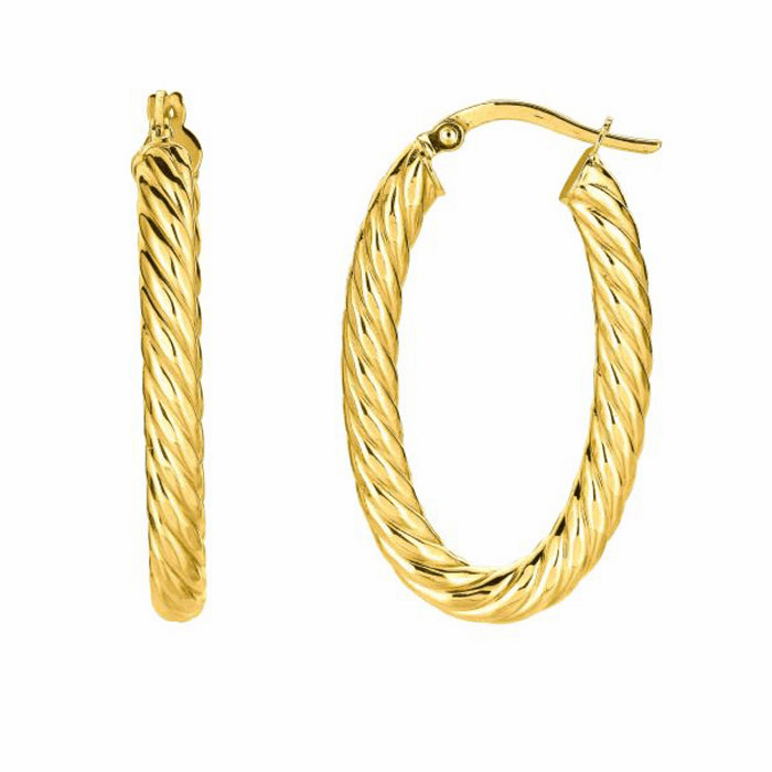 14K Yellow Gold Shiny Oval Shape Twists Hoop Earring with Hinged Clasp