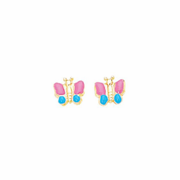 14K Yellow Gold Shiny Pink/Blue Butterfly Post Earring