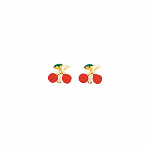 14K Yellow Gold Shiny Red/Green Cherry Post Earring