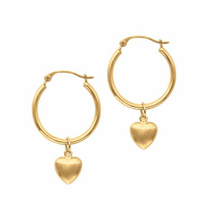 14K Yellow Gold Shiny Round Hoop with Small Puff Heart Fashion Earring