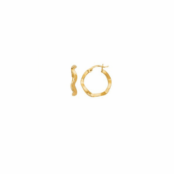 14K Yellow Gold Shiny Round Twisted Hoop Earring w/Hinged Clasp- IT118
