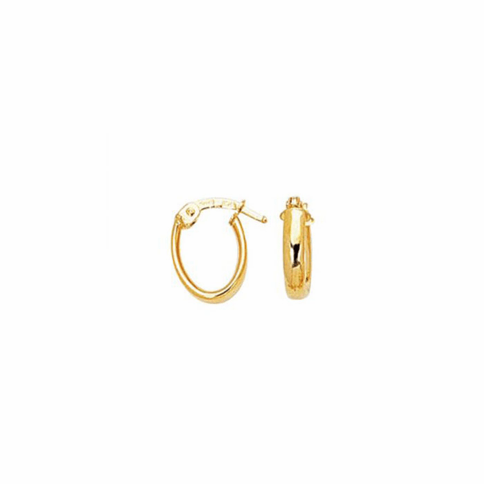 14K Yellow Gold Shiny Small Oval Hoop Earring with Hinged Clasp