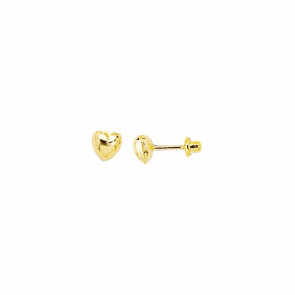 14K Yellow Gold Shiny Small Puff Heart Post Earring