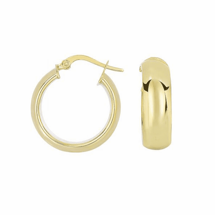 14K Yellow Gold Shiny Small Timeless Hoop Earring w/Hinged Clasp- F664