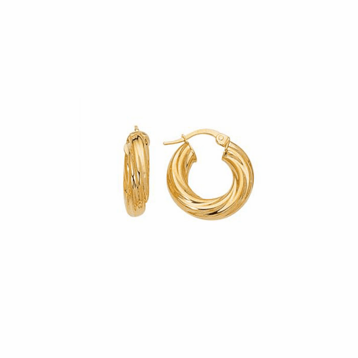 14K Yellow Gold Shiny Small Twisted Hoop Earring w/Hinged Clasp- IT664
