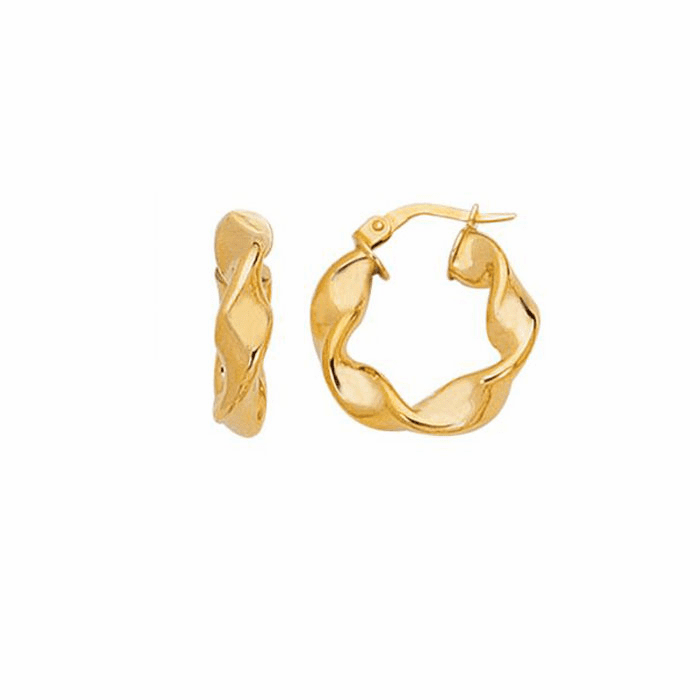 14K Yellow Gold Shiny Small Twisted Hoop Earring with Hinged Clasp