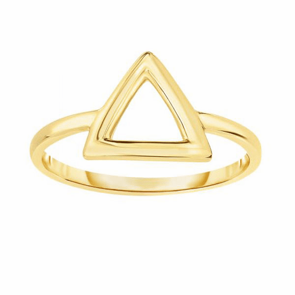 14K Yellow Gold Shiny Square Tube Open 3 Point Triangle Top Fancy Ring