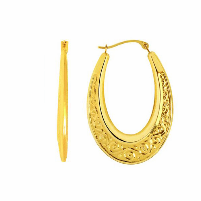 14K Yellow Gold Shiny Textured Graduated Oval Shape Hoop Earring