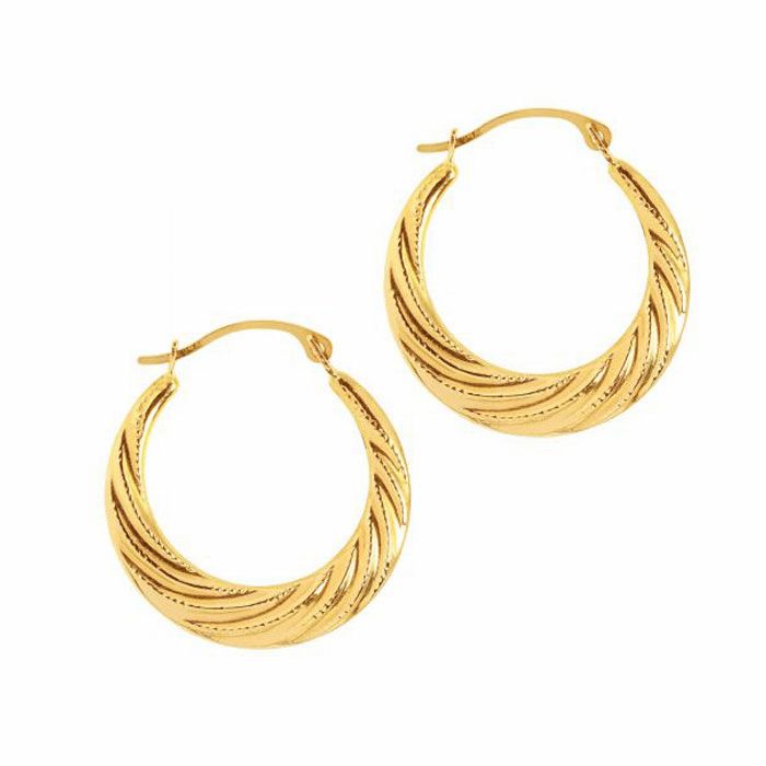 14K Yellow Gold Shiny Textured Graduated Twisted Round Hoop Earring