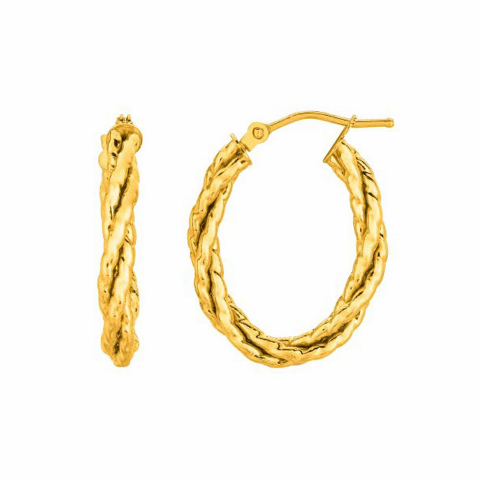 14K Yellow Gold Shiny Twisted Oval Hoop Earring with Hinged Clasp