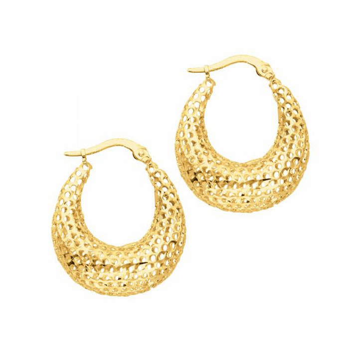 14K Yellow Gold Textured Graduated Mesh Fashion Sparkle Hoop Earring