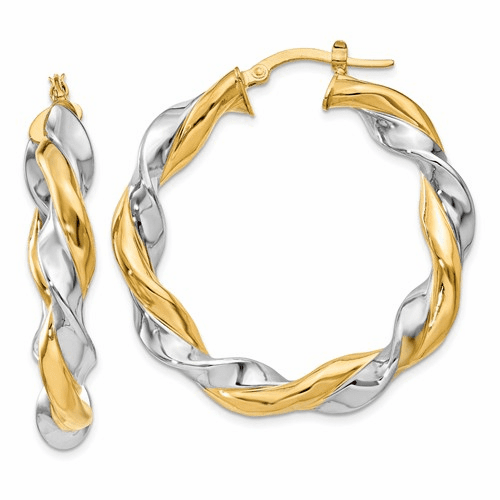 14k Yellow & Rhodium Hoop Earrings