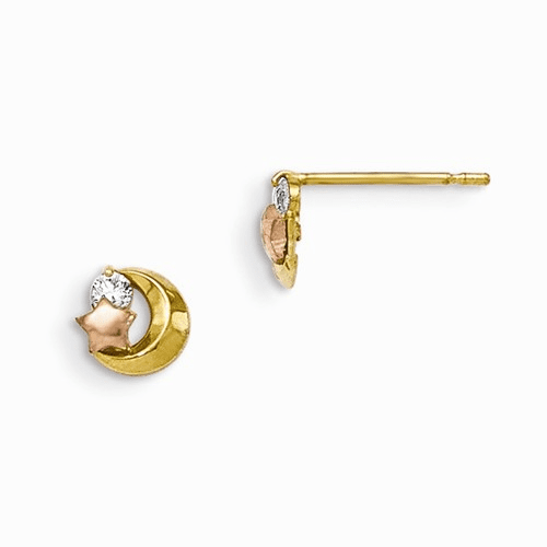 14k Yellow & Rose Gold Madi K Cz Moon And Star Post Earrings