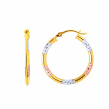 Tricolor Triple Braided Round Hoop Earrings Real 14K Yellow White Rose Gold