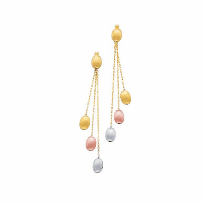 14K Yellow/Rose/White Gold Multi-Color Pebble Fashion Drop Earring