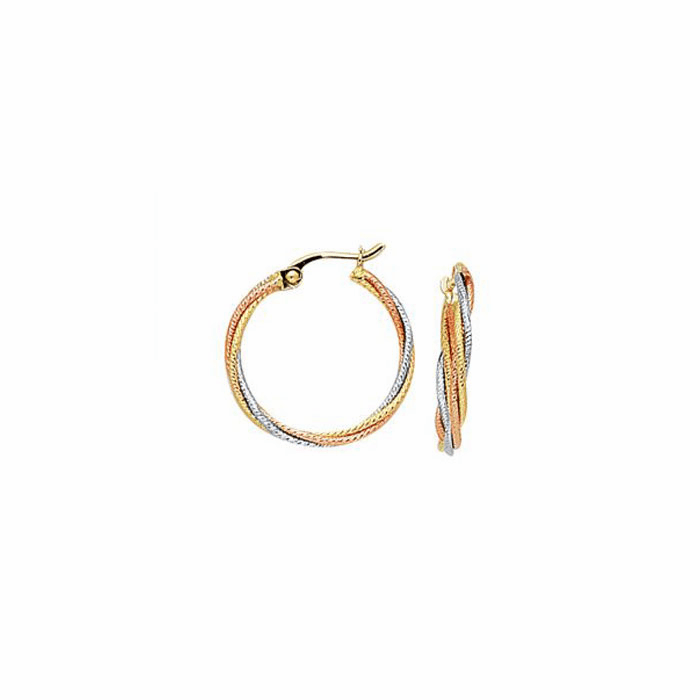 14K Yellow/Rose/White Gold Multi-Strand Small Twisted Hoop Earring