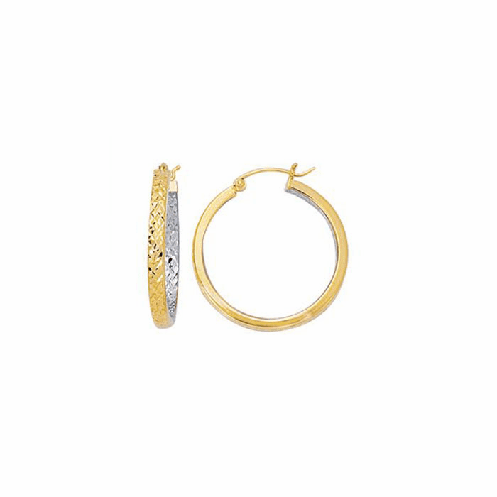 14K Yellow/White Diamond Cut Design Hoop Earring w/Hinged Clasp- ER433