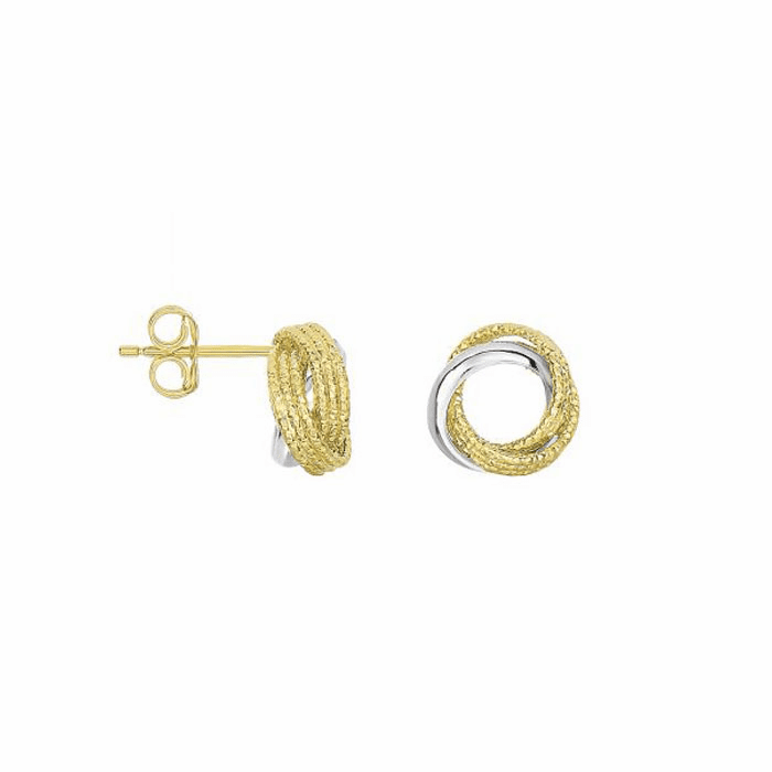 14K Yellow / White Gold 10.1mm 3 Circle Swirl Patterned Post Earring