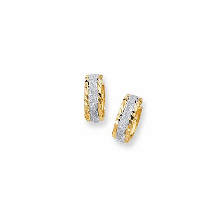14K Yellow/White Gold Diamond Cut 5.0mm Snuggable Earring with Sparkle