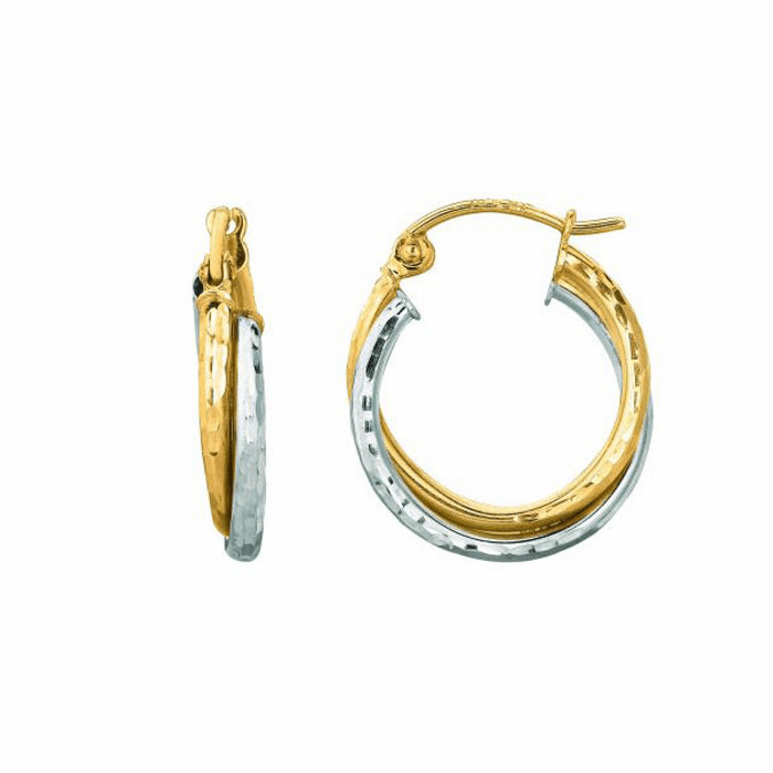 14K Yellow / White Gold Diamond Cut Double Row Round Hoop Earring