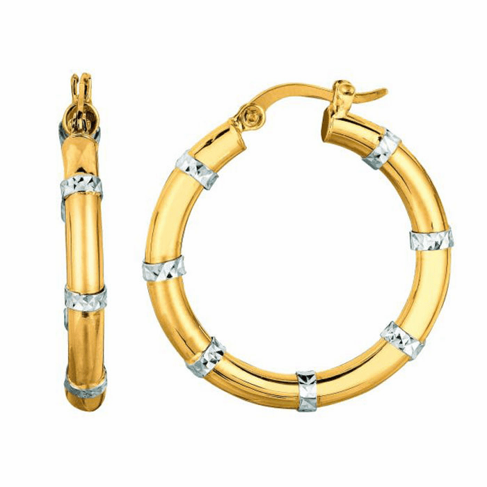 14K Yellow / White Gold Diamond Cut Fashion Sparkle Round Hoop Earring