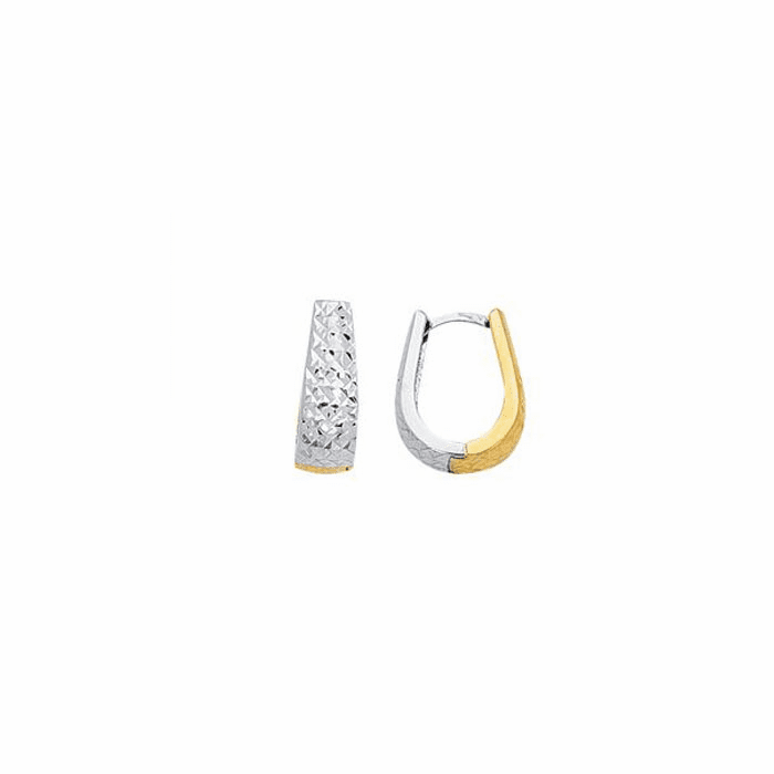 14K Yellow/White Gold Diamond Cut Graduated Two Tone Snuggable Earring