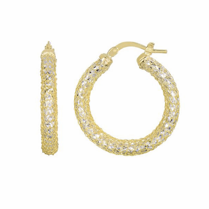 14K Yellow/White Gold Diamond Cut Mesh Like Sparkle Round Hoop Earring