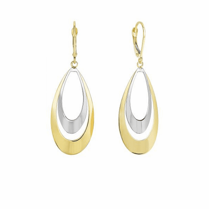 14K Yellow/White Gold Flat Convex Double Tear Drop Graduated Earring