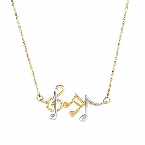 14K Yellow/White Gold Musical Notes Necklace Anchored to Link Chain