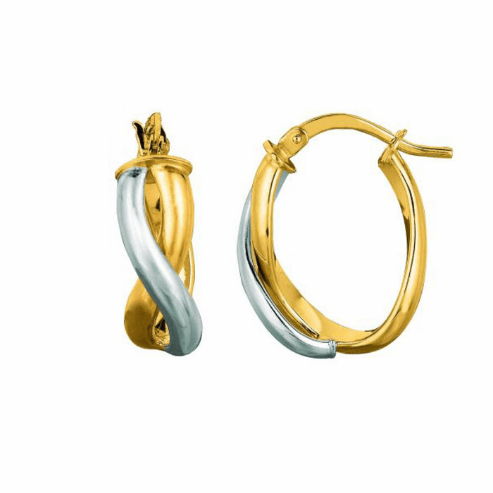 14K Yellow / White Gold Oval Shape Double Row Twisted Hoop Earring